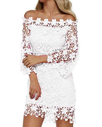 Auxo Women Off The Shoulder Floral Lace Long Sleeve Vintage Cocktail Party Dress White L