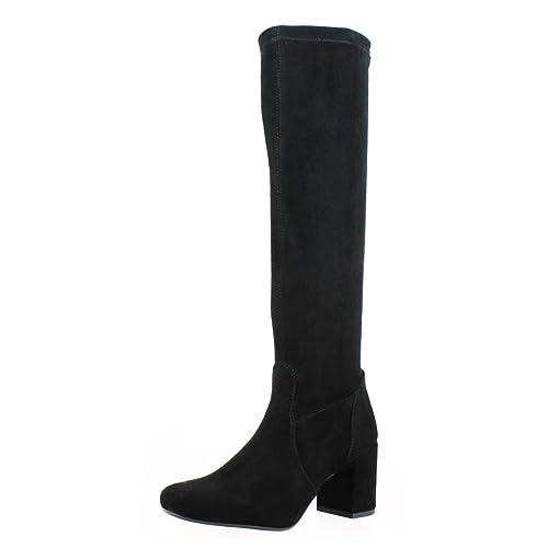 d4dffbb73cff Saint G Womens Black Stretch Suede Long Boots
