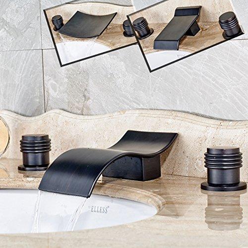5151buyworld Top Qualität Wasserhahn Öl eingerieben Bronze Deck Mount Wasserfall 3 Dual Griff Wasserhahn Badezimmer 3 Löcher Mixer tapsfor Badezimmer Küche Home Gaden (begriffsklärung), 4,