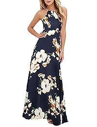 Romacci Women Dress Halter Neck Floral Print Sleeveless Summer Beach Dress