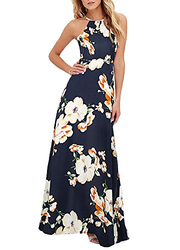 Romacci Women's Sleeveless Halter Neck Maxi Dress Vintage Floral Print Backless Beach Long Dresses S-5XL,Blue/Black (L, Dark Blue)