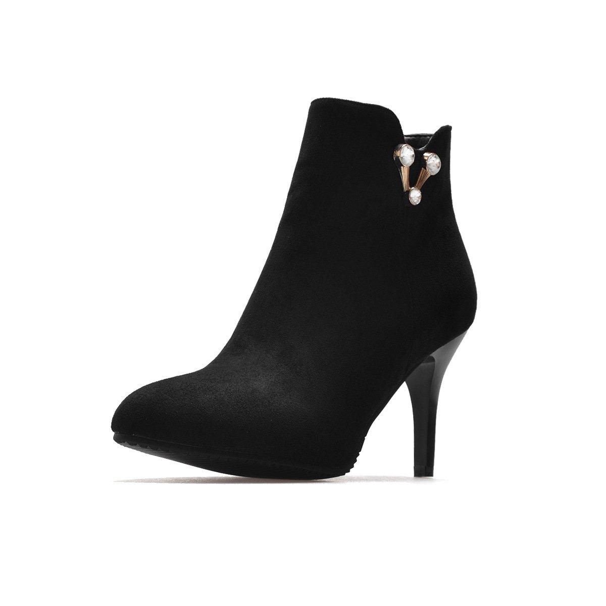 DYF Schuhe kurze Stiefel fein High Heel scharfe scharfe scharfe Farbe Strasssteine Big Größe, Schwarz, 38 149d47