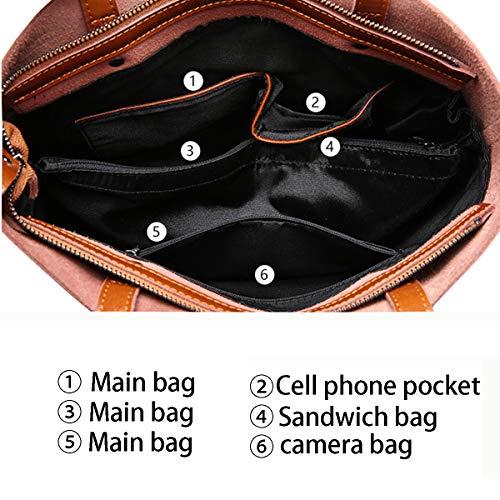 Di Pelle Leather Borsetta Nero Shopping In Hjly Borsa Grande Tote Capacità fOH8Wq