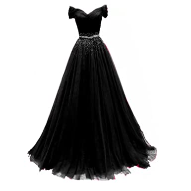 Chady Off Shoulder Black Tulle Prom Dresses 2017 Ball Gowns Long With Beads Belt Evening Party