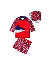 OMDPZwe Baby Boys Two Piece Rash Guard Swimsuits,Kids Long Sleeve Sunsuit Swimwear Bathing Suit with Hat
