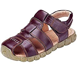 Dadawen Boy's Girl's Leather Closed Toe Outdoor Sport Sandals (Toddlerlittle Kidbig Kid) Brown Us Size 10 M Toddler