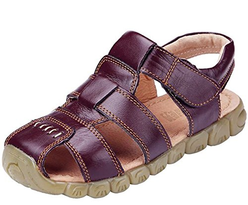 Brown Leather Sport Sandals (DADAWEN Boy's Girl's Leather Closed Toe Outdoor Sport Sandals (Toddler/Little Kid/Big Kid) Brown US Size 1 M Little Kid)