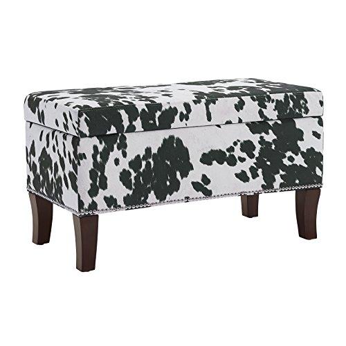 Binche Black Cow Print Bench/Ottoman (Print Ottoman Cow)