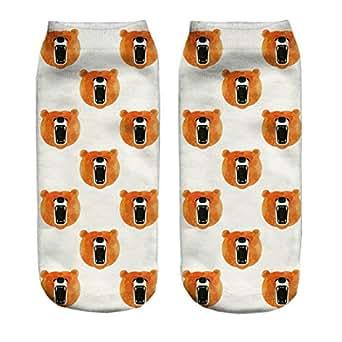 Chocky 3d Print Orange Bear Socks Women Casual Low Cut Ankle Socks
