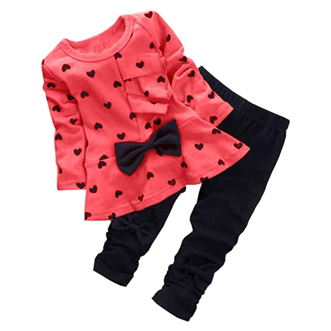 c1ae6da27f6b2 Amazon.com: 0-5 Years Kids Baby Girls Clothes Cute Heart-Shaped Print Bow  Tops T Shirt + Pants Leggings 2Pcs Outfits Sets: Clothing
