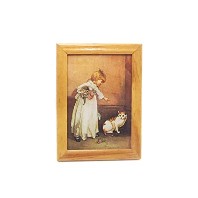 Hoolick 1/12 Dollhouse Miniature Furniture Model - Tiny Exquisite Painting Wooden Frame Mural Accessories: Home & Kitchen
