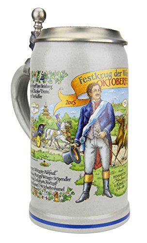 Munich Official Oktoberfest 2015 Wirtekrug (Host Mug) German Oktoberfest Beer Stein 1.0 Liter, Salt Glaze | Official 2015 Munich Oktoberfest Beer Stein