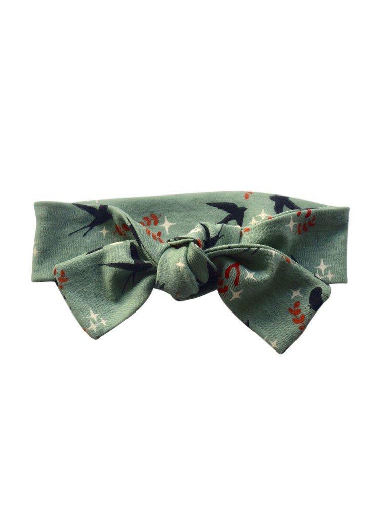 Sophia Sam Baby Girls Mint Swallows Pattern Knot Bow Cotton Headband 0-6M
