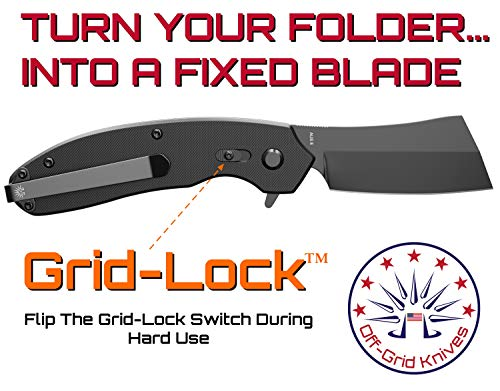 Off-Grid Knives - OG-950XB Cleaver Compact Blackout - Hard Use Legal Carry EDC Folding Knife, Safety Grid-Lock Turns This Folder Into a Fixed Blade, Cryo AUS8 Blade with TiNi, G10, Tip-Up Deep Carry by Off-Grid Knives (Image #2)
