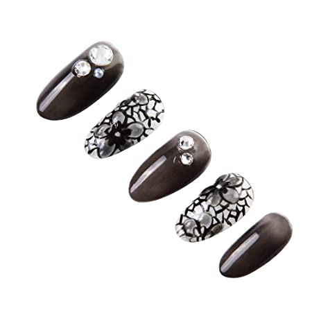 Amazon.com : 24 Pcs of 12 Different Sizes Handmade Lace Pattern Finger Fake Nail for Festival Dresses : Beauty