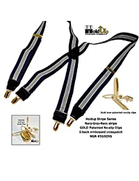 "Hold-Ups Navy & Gray Striped 1 1/2"" with X-back Style and Gold No-slip Clips"