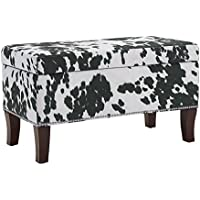 Binche Black Cow Print Bench/Ottoman