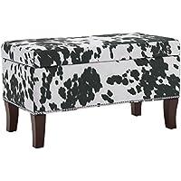 Binche Black Cow Print Bench/Ottoman