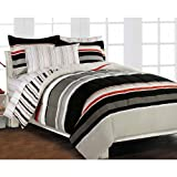 Nautical Stripe Gray Comforter Set with 180 TC Sheet Set