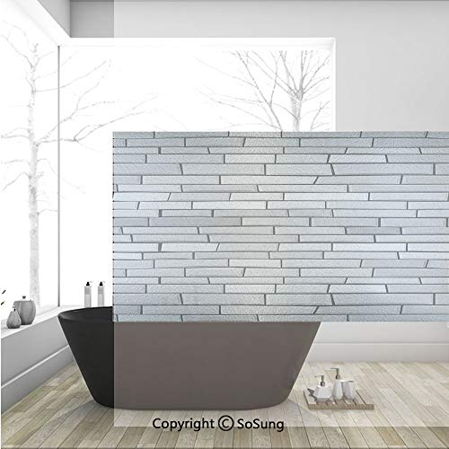 3D Decorative Privacy Window Films,Illustration of Brick Wall Contemporary Artptrint 3D Vision Odd Modern Shabby Decorative Home,No-Glue Self Static Cling Glass Film for Home Bedroom Bathroom Kitchen