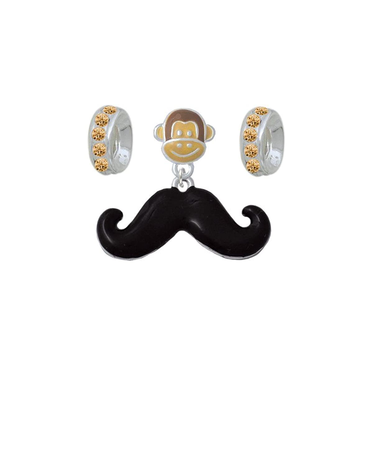 Large Black Enamel Mustache Monkey Charm Hanger with Crystal Rondelle Beads (Set of 3)