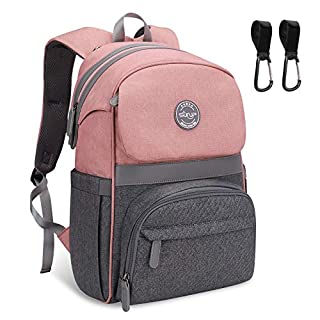 Diaper Bag Backpack, SUNUP Multifunction Baby Girls Boys Diaper Bag, Travel Waterproof Back Pack with 4 Insulated Bottle Pockets, 2020 New Pink Grey