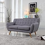Mid-Century modern tufted linen fabric loveseat in various colors - polo blue, blue, light grey, yellow and red (Light Grey)