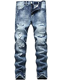 Men's Ripped Pants Distressed Slim Fit Straight Jeans Fashion Ankle Zipper Jeans with Broken Holes