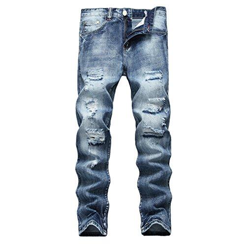 WEEN CHARM Mens Distressed Ripped Biker Skinny Fit Tapered Leg Jeans Moto Blue Denim Pants
