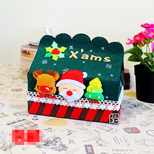 CHENGYIDA DIY Felt Merry Christmas stlye Tissue Box Case Holder kit, unfinish felt box.Felt Applique Kit,Felt Crafts Kit