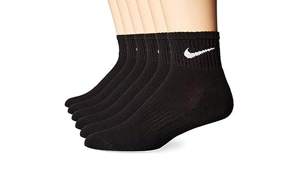 Nike Performance cojín cuarto calcetines con bolsa (6 pares), Unisex, color negro/blanco, tamaño Medium: Amazon.es: Deportes y aire libre