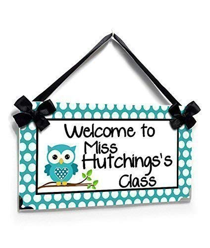 Sign for Teacher Classroom White Polka Dots with a Teal Owl -
