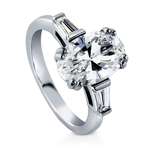 BERRICLE Rhodium Plated Sterling Silver Oval Cut Cubic Zirconia CZ 3-Stone Anniversary Engagement Ring 3.23 CTW Size 7