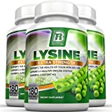BRI Nutrition L-Lysine 180 Servings Per Bottle - Super 500mg Veggie Capsules, 3-Pack