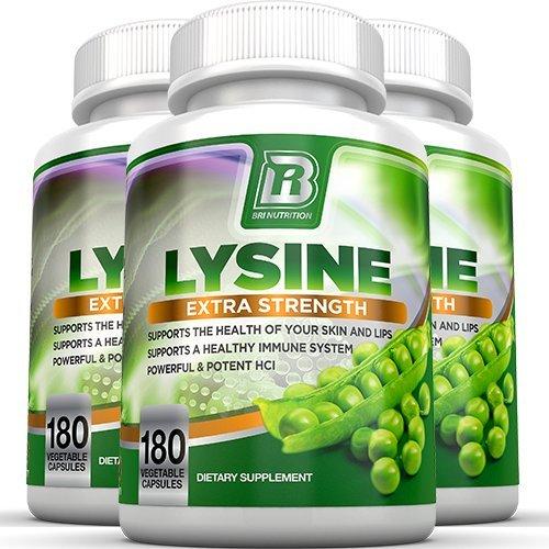 BRI Nutrition L-Lysine 180 Servings Per Bottle - Super 500mg Veggie Capsules, 3-Pack by BRI Nutrition