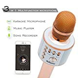 Micpioneer Wireless Microphone Karaoke Speaker Audio in/out Portable Bluetooth Karaoke Player for Home Party, Gift(Rose Golden)