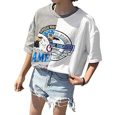 (アンドジェイ) ANDJ バイカラー リメイク風 アシンメトリー プリント Tシャツ( 3665 )
