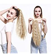 SARLA Clip in Ponytail Hair Extension Curly Wavy Dirty Blonde 22 Inch Long Wrap Around Synthetic ...