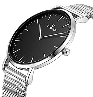 Tonnier Stainless Steel Slim Men Watch Quartz Watch Black Face from Tonnier