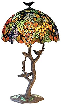 "Chloe Lighting CH1B440GA20-TL2 2 Tiffany-Style Featuring Leafs & Grapes Table Lamp Oval Shape 20"" Shade 2 Light"