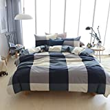 Adyonline 3 Pcs Duvet Cover Queen Size for Wisdom Boys Navy&Grey,Beige Plaid Pattern with Full Zipper Closure Envelop Style Pillowcase-Comfortable and Durable