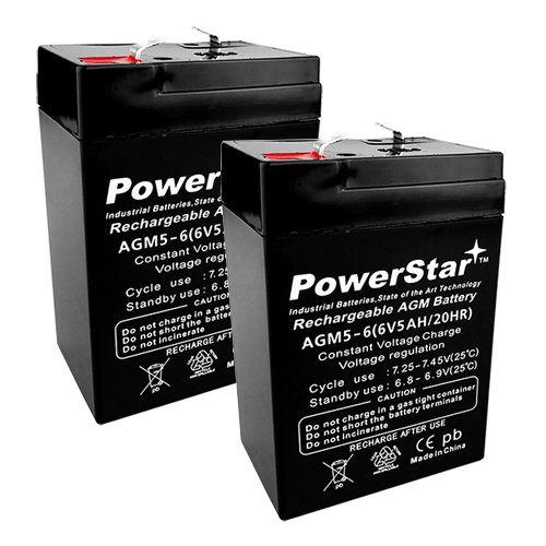 2PACK 6V 5Ah (SLA) Rechargeable Battery for Alarms, ATV's and motorcycle by POWERSTAR