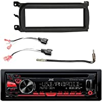 EnrockAutomotive KDR690S-EDJCDK98UP-72-6512 JVC Single DIN In-Dash CD/AM/FM/Car Stereo Receiver, Dash Kit, Metra 2 Pin Rectangular Speaker Connector, Select 2001-2009 Vehicles