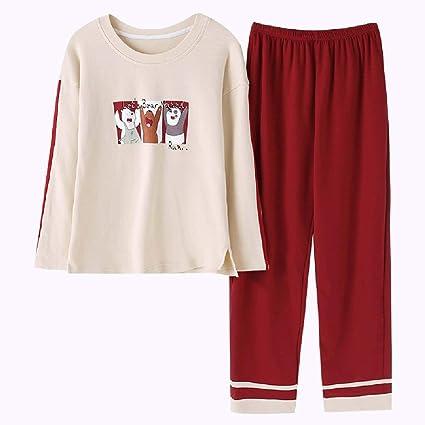 Pijama camisón de algodón de otoño de manga larga pijamas señoras lindas tapas de albaricoque ropa