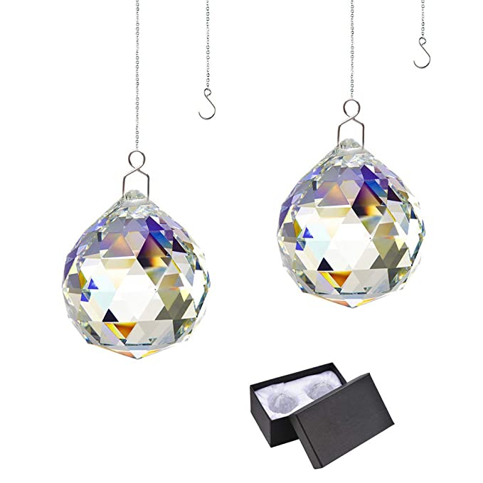 Rainbow Suncatcher Crystal Ball Prism - Window Suncatcher Feng Shui Crystal Glass Ball Pendant 40mm for Hanging Clear Pack of 2