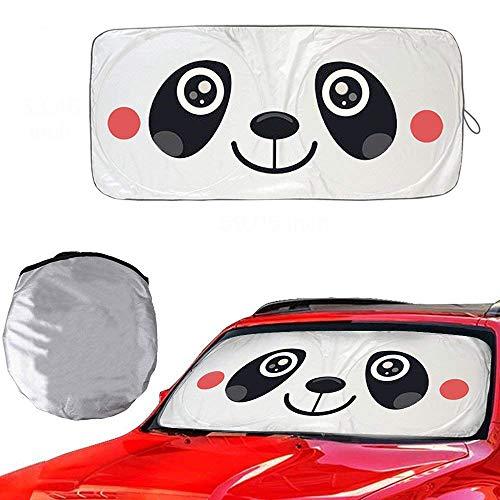 "Metacrafter Car Windshield Sunshade with Cute Panda Design, Folding Front Car Window Sun Shade Blocks UV Rays Sun Visor Protector Pop Up Style Fit for Vans,SUVs and Trucks Automotive Shade (59""x33"