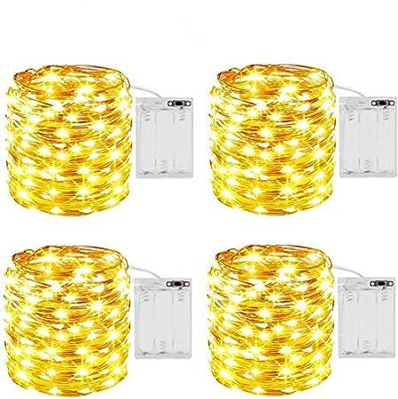4 Pack Guirnalda Luces Pilas 5M 50 Luces de Cadena Micro con Pilas Guirnalda de Luces LED Luces LED Pilas Micro con Pilas de Alambre de Cobre para Jardines,Casas,Boda,Navidad,DIY, IP65 Impermeable: Amazon.es: