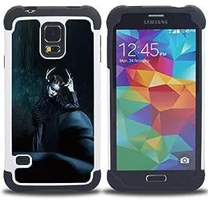 """SAMSUNG Galaxy S5 V / i9600 / SM-G900 - 3 en 1 impreso colorido de Altas Prestaciones PC Funda chaqueta Negro cubierta gel silicona suave (Moda Negro Bruja noche de Halloween"""")"""