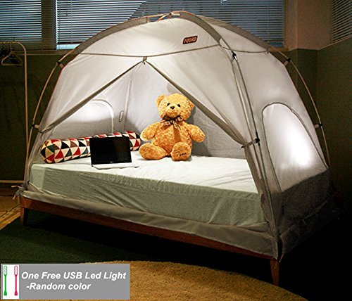 TQUAD Floorless Indoor Privacy Tent on Bed for Insulation Warm Sleep in Drafty Room Saves on Heating bills (Small, Gray)