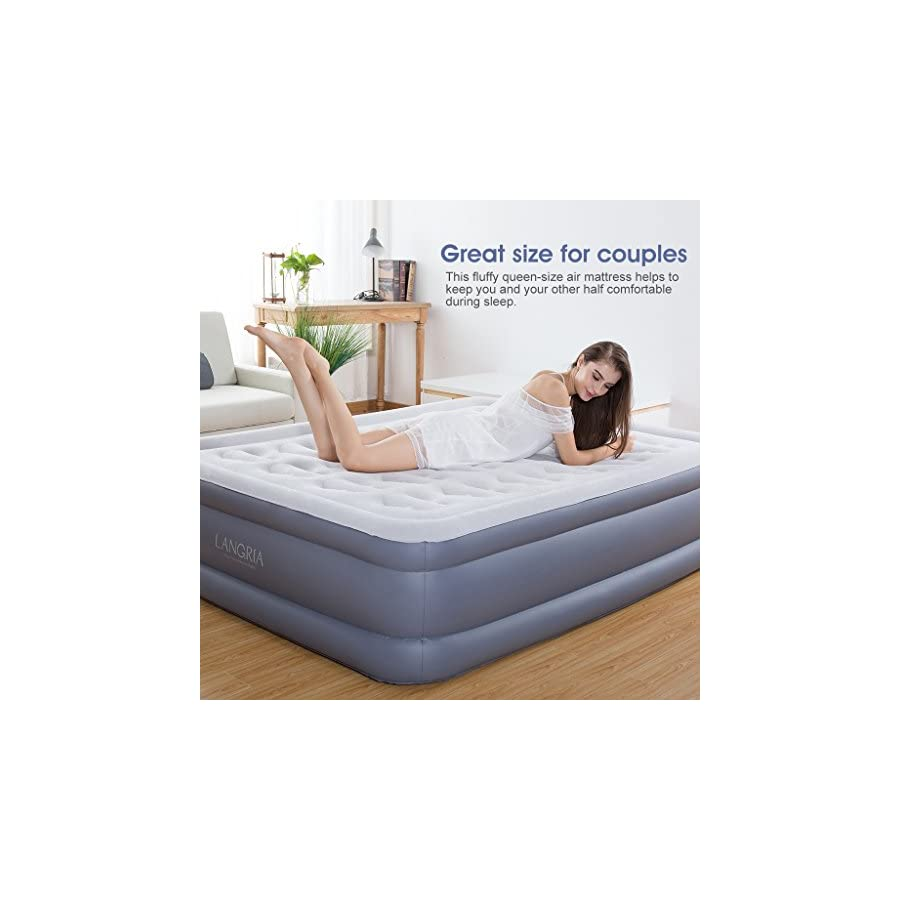 langria air mattress plush flocked elevated air bed with easy inflate built in electric pump comfortable - Adjustable Firmness Mattress